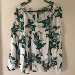 Old Navy Long Sleeve Palm Leave Floral Blouse